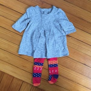 Baby Gap Soft Grey Dress and Multi-Color Tights